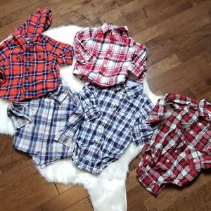 Lot boys 12 month baby plaid flannel shirts long